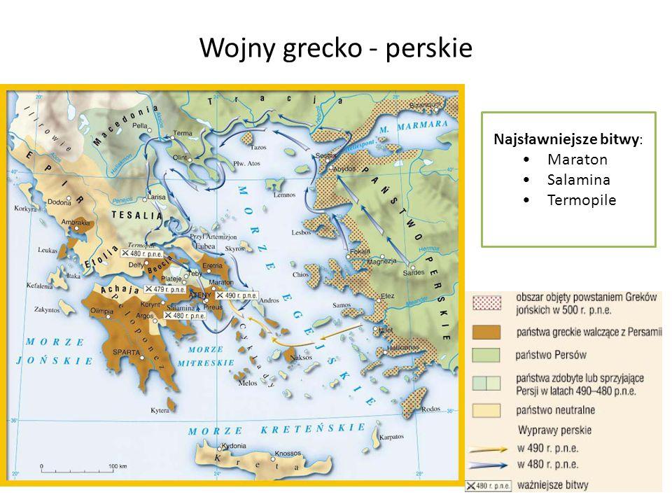 Wojny grecko - perskie Najsławniejsze bitwy : Maraton Salamina Termopile