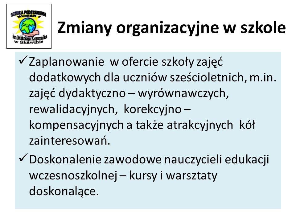 Zmiany organizacyjne w szkole Zaplanowanie w ofercie szkoły zajęć dodatkowych dla uczniów sześcioletnich, m.in.