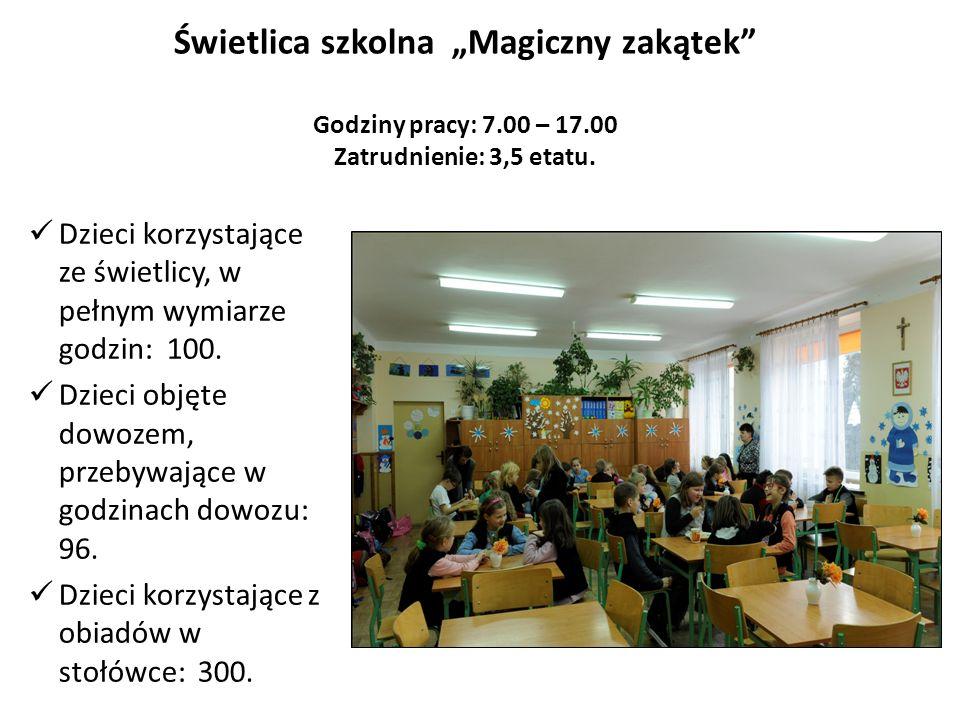 Świetlica szkolna Magiczny zakątek Godziny pracy: 7.00 – 17.00 Zatrudnienie: 3,5 etatu.