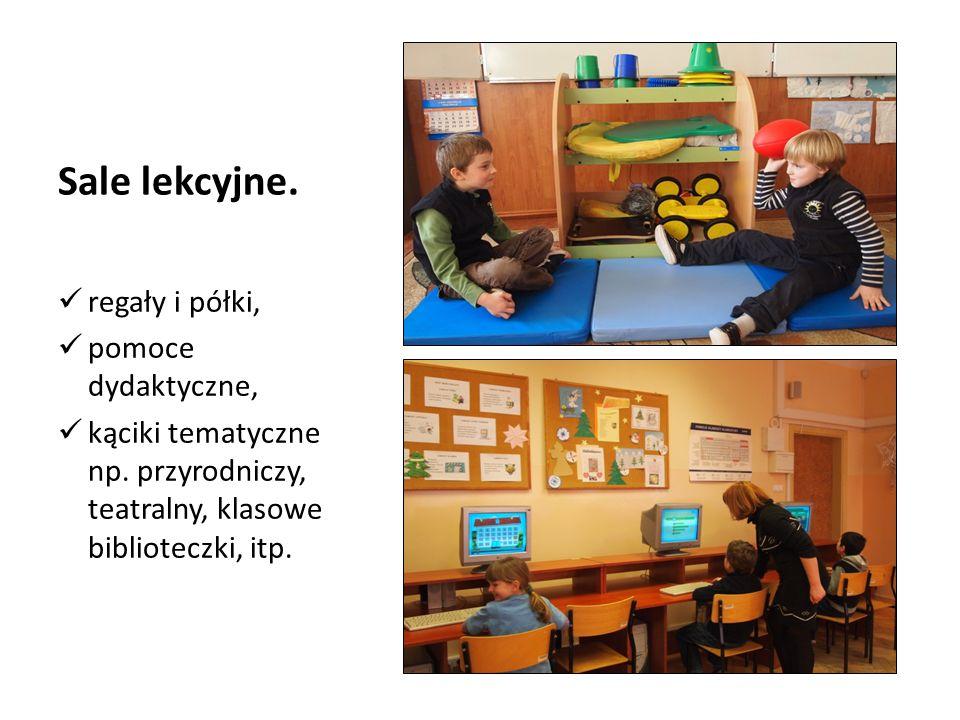 Sale lekcyjne.regały i półki, pomoce dydaktyczne, kąciki tematyczne np.
