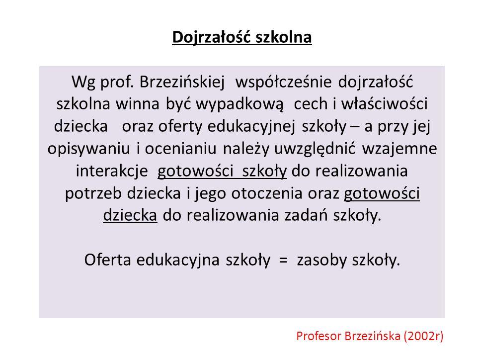 Dojrzałość szkolna Wg prof.