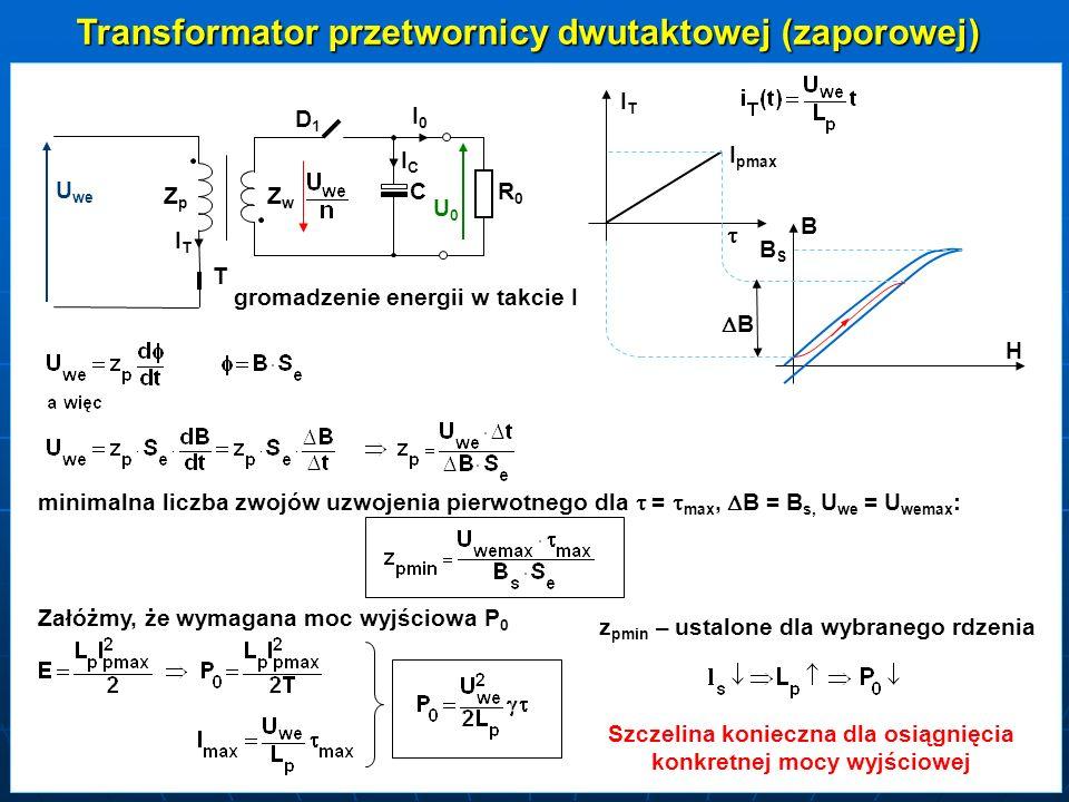 Takt II - tranzystor T wyłączony ZZwZZw DD1DD1 C RR0RR0 I0I0I0I0 ICICICIC IDIDIDID I Dmax B H BSBSBSBS U0U0 IDIDIDID T Energia magnetyczna oddawana Jest z rdzeniu w takcie II Jeżeli dla maksymalnej mocy wyjściowej P o dobierzemy < T-, to mamy do czynienia z nieciągłym przepływem strumienia w rdzeniu w całym zakresie obciążeń.