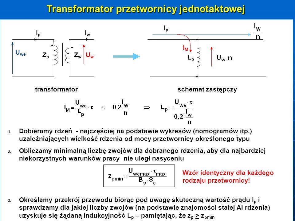 Transformator przetwornicy jednotaktowej ZZpZZp ZZwZZw U we IpIpIpIp UwUw LpLp IpIpIpIp IMIM transformatorschemat zastępczy IwIwIwIw 1. 1. Dobieramy r