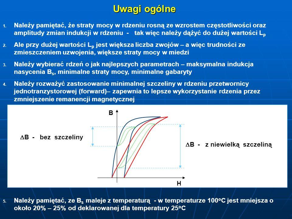 Uwagi ogólne 1. 1. Należy pamiętać, że straty mocy w rdzeniu rosną ze wzrostem częstotliwości oraz amplitudy zmian indukcji w rdzeniu - tak więc należ