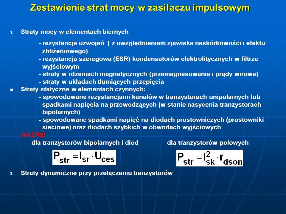 Zestawienie strat mocy w zasilaczu impulsowym 1. 1. Straty mocy w elementach biernych - rezystancje uzwojeń ( z uwzględnieniem zjawiska naskórkowości