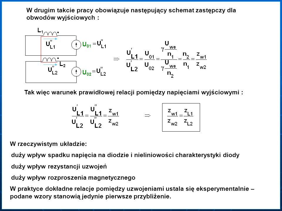 W drugim takcie pracy obowiązuje następujący schemat zastępczy dla obwodów wyjściowych : L1L1L1L1 U 01 U 02 L2L2L2L2 Tak więc warunek prawidłowej rela