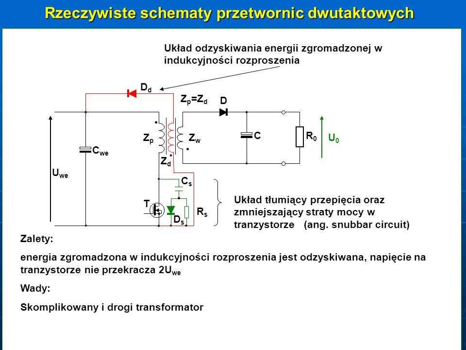 ZZpZZp ZZwZZw T D C RR0RR0 U0U0 U we C we CsCs RsRs UpUp U T =U p +U we Wady: energia zgromadzona w indukcyjności rozproszenia jest tracona w rezystorze Rs, mniejsza sprawność, konieczność stosowania rezystora (rezystorów) dużej mocy, nagrzewanie elementów, możliwość występowania na tranzystorze napięcia większego od 2U we Zalety: tańszy i prostszy transformator, brak dodatkowych przepięć na tranzystorze W tej konfiguracji przetwornicy układ często stosowany w praktyce dla mocy do 100W LsLsLsLs Pomiar indukcyjności rozproszenia LsLsLsLs LsLsLsLs