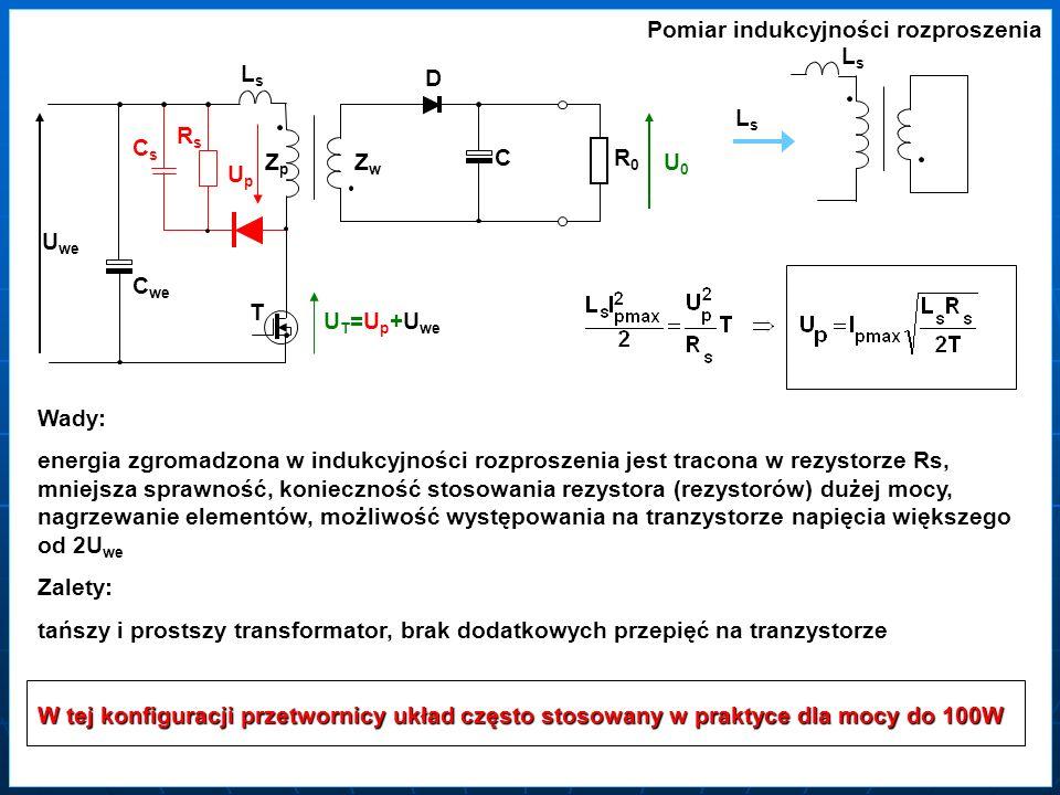 ZZpZZp ZZwZZw T D C RR0RR0 U0U0 U we C we CsCs RsRs UpUp U T =U p +U we Wady: energia zgromadzona w indukcyjności rozproszenia jest tracona w rezystor
