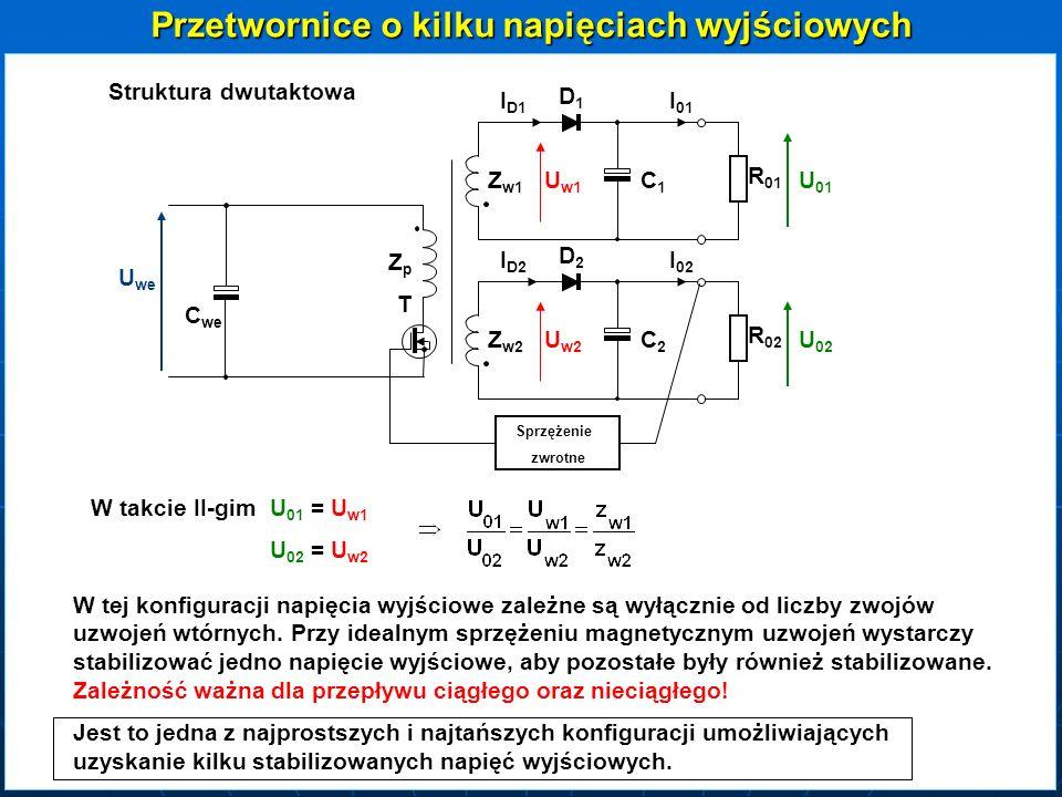 ZZpZZp Z Z w1 ZZdZZd T DD2DD2 DD1DD1 L1L1L1L1 C R R 01 U 01 U we C we DDdDDd Z Z w2 DD4DD4 DD3DD3 L2L2L2L2 C R R 02 U 02 Struktura jednotaktowa Ta zależność ważna tylko w przypadku ciągłego przepływu strumienia w L 1 i L 2
