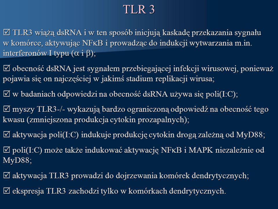 TLR 3 TLR3 wiążą dsRNA i w ten sposób inicjują kaskadę przekazania sygnału w komórce, aktywując NF B i prowadząc do indukcji wytwarzania m.in. interfe