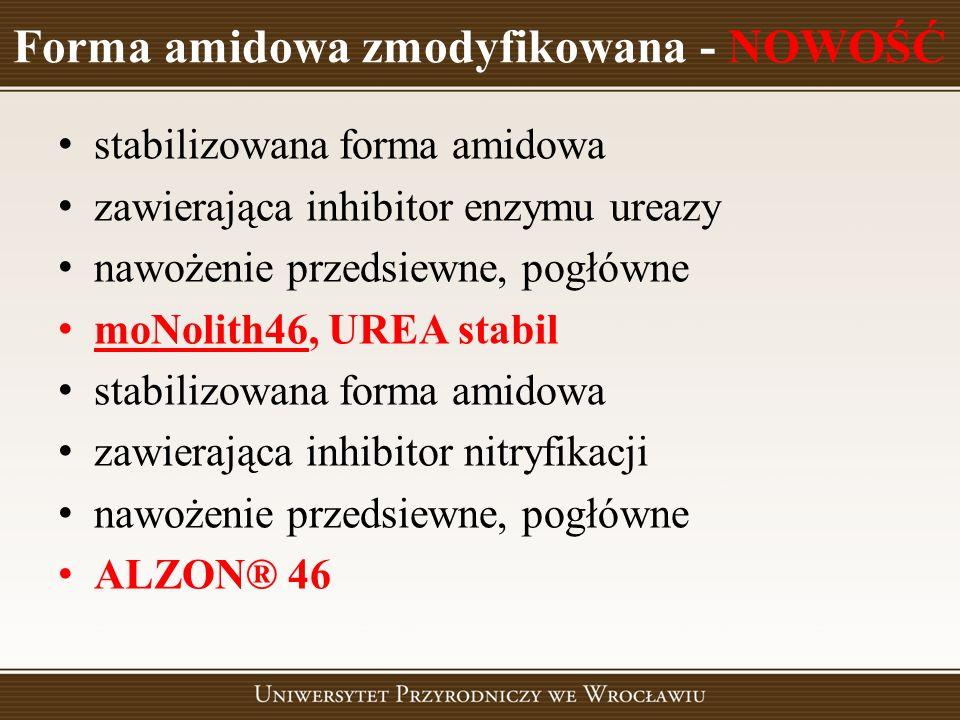 Forma amidowa zmodyfikowana - NOWOŚĆ stabilizowana forma amidowa zawierająca inhibitor enzymu ureazy nawożenie przedsiewne, pogłówne moNolith46, UREA