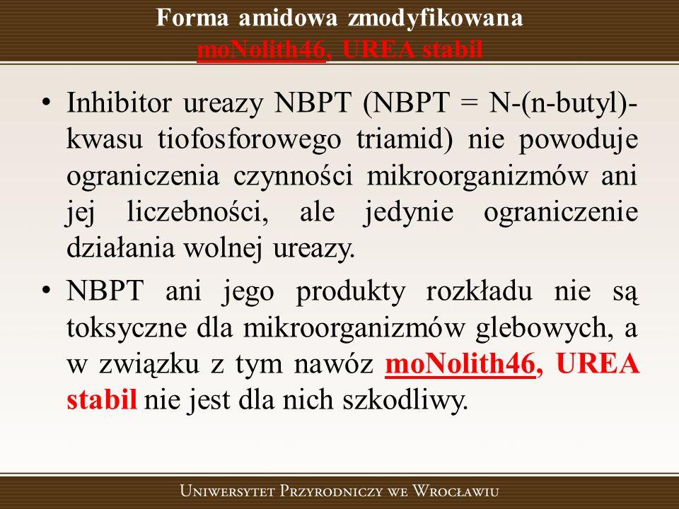 Forma amidowa zmodyfikowana moNolith46, UREA stabil Inhibitor ureazy NBPT (NBPT = N-(n-butyl)- kwasu tiofosforowego triamid) nie powoduje ograniczenia