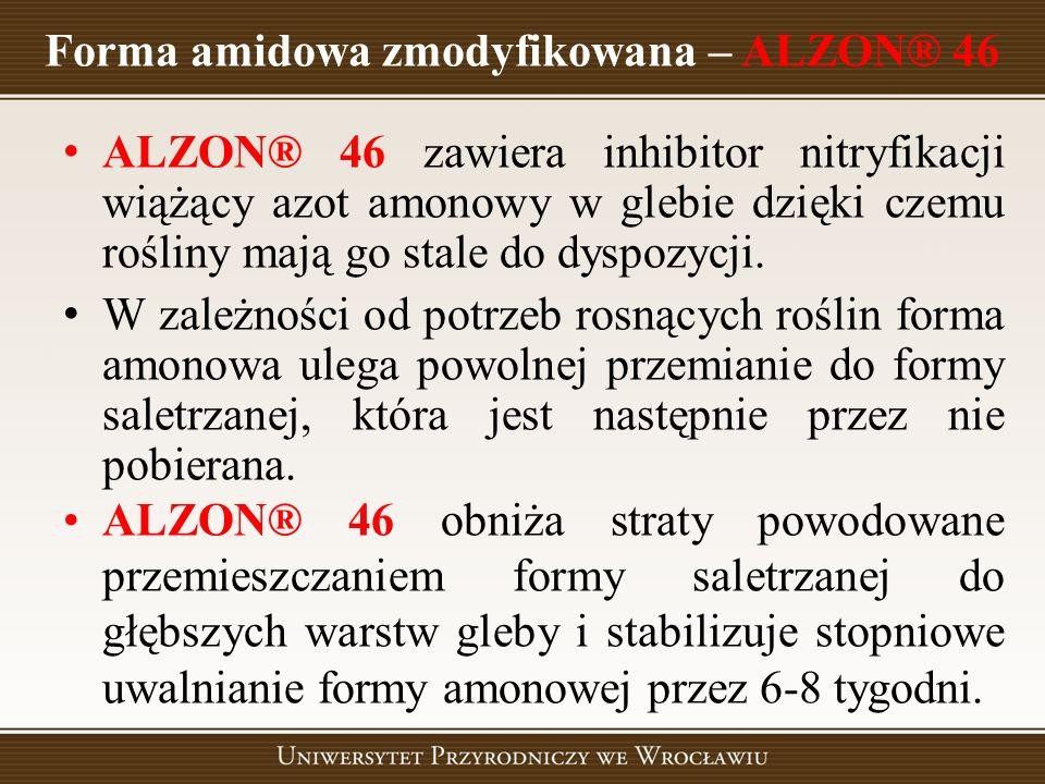 Forma amidowa zmodyfikowana – ALZON® 46 ALZON® 46 zawiera inhibitor nitryfikacji wiążący azot amonowy w glebie dzięki czemu rośliny mają go stale do d