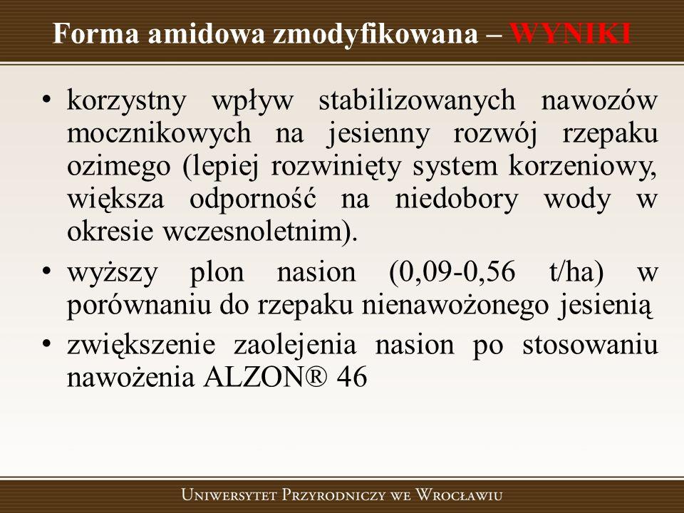 Forma amidowa zmodyfikowana – WYNIKI korzystny wpływ stabilizowanych nawozów mocznikowych na jesienny rozwój rzepaku ozimego (lepiej rozwinięty system