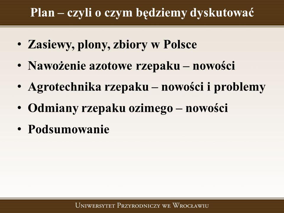 Zasiewy, plony, zbiory w Polsce Nawożenie azotowe rzepaku – nowości Agrotechnika rzepaku – nowości i problemy Odmiany rzepaku ozimego – nowości Podsum