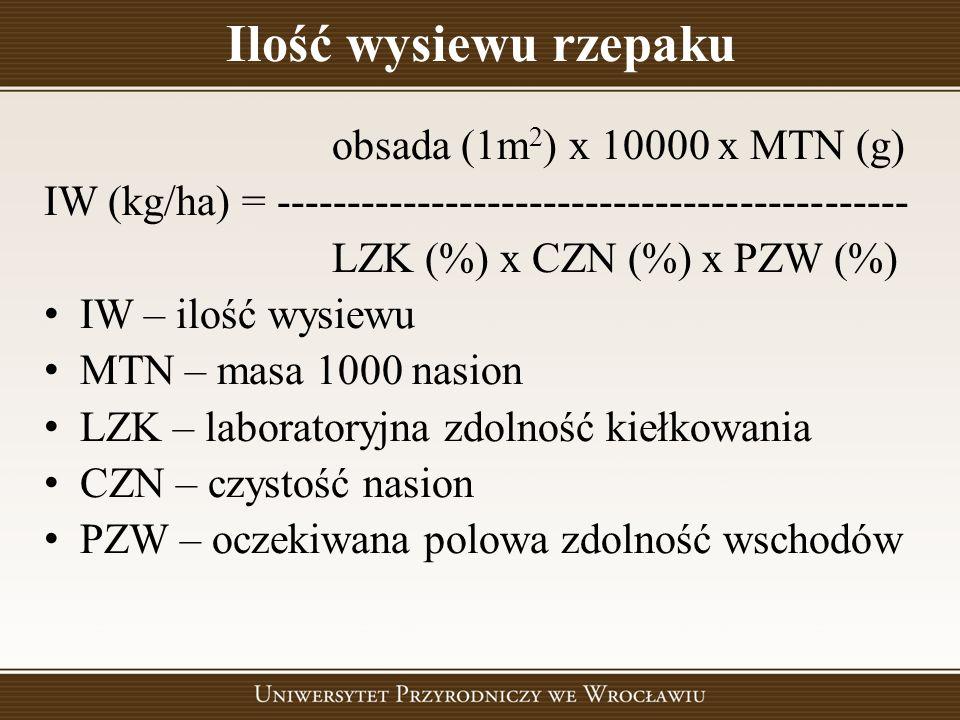 Ilość wysiewu rzepaku obsada (1m 2 ) x 10000 x MTN (g) IW (kg/ha) = --------------------------------------------- LZK (%) x CZN (%) x PZW (%) IW – ilo