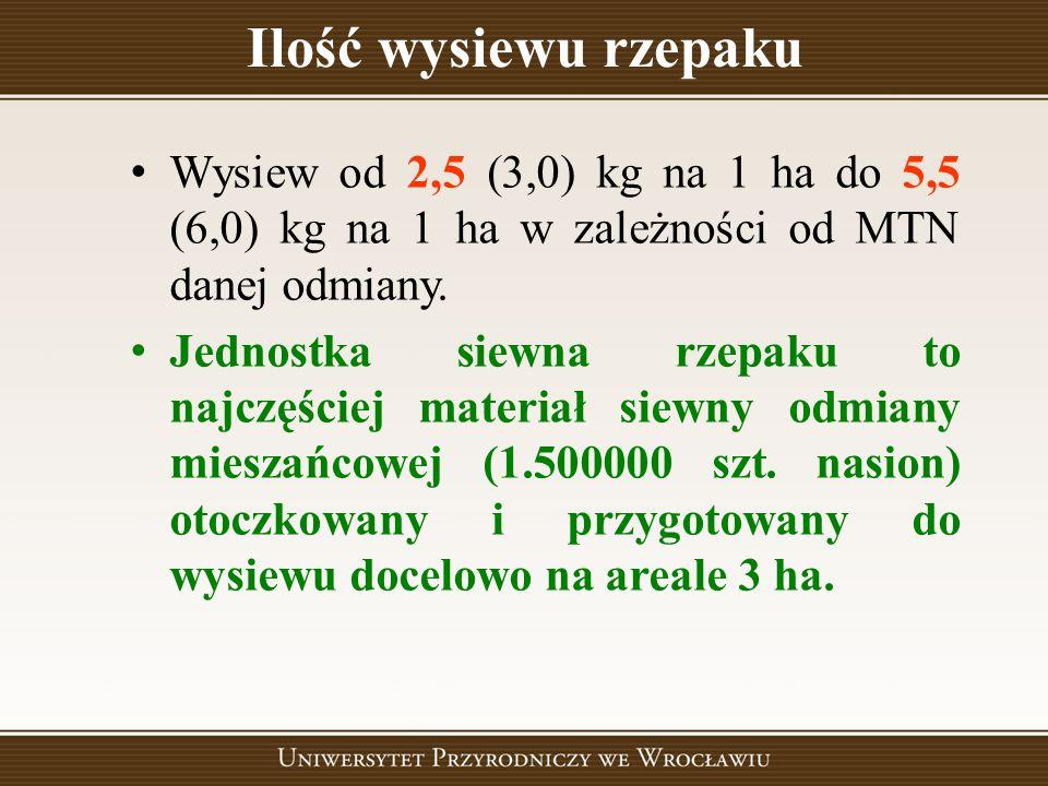 Ilość wysiewu rzepaku Wysiew od 2,5 (3,0) kg na 1 ha do 5,5 (6,0) kg na 1 ha w zależności od MTN danej odmiany. Jednostka siewna rzepaku to najczęście
