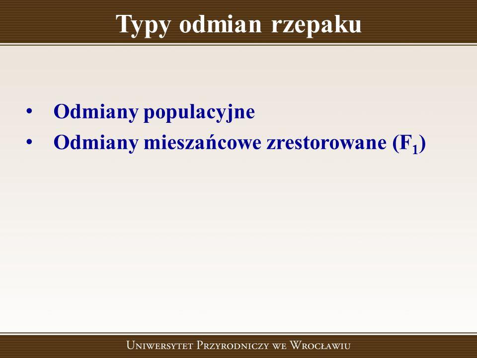 Typy odmian rzepaku Odmiany populacyjne Odmiany mieszańcowe zrestorowane (F 1 )