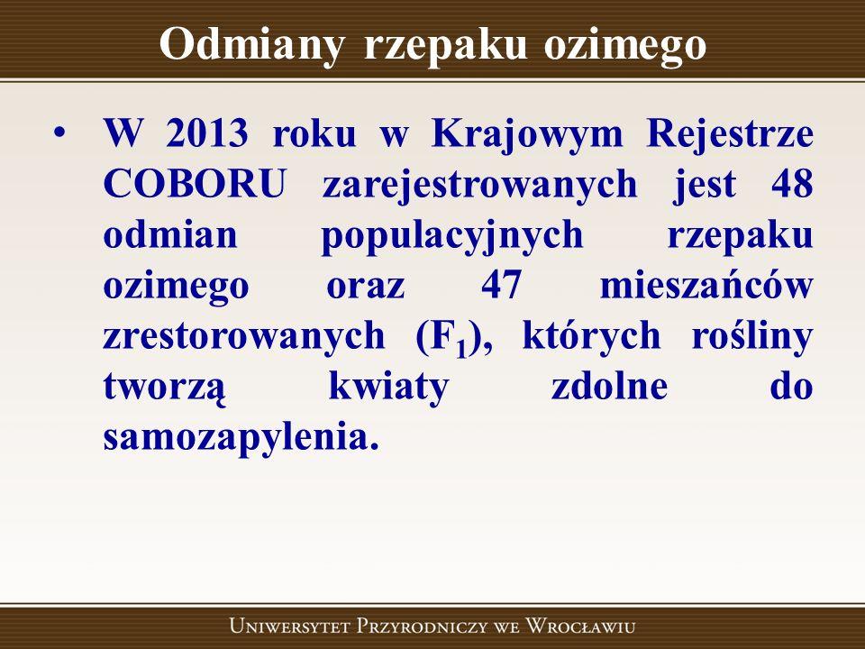 Odmiany rzepaku ozimego W 2013 roku w Krajowym Rejestrze COBORU zarejestrowanych jest 48 odmian populacyjnych rzepaku ozimego oraz 47 mieszańców zrest
