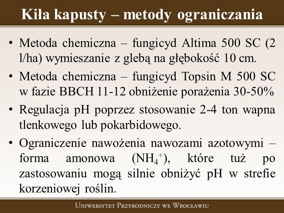 Kiła kapusty – metody ograniczania Metoda chemiczna – fungicyd Altima 500 SC (2 l/ha) wymieszanie z glebą na głębokość 10 cm. Metoda chemiczna – fungi