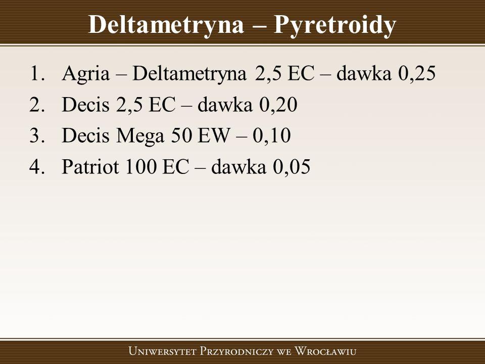 Deltametryna – Pyretroidy 1.Agria – Deltametryna 2,5 EC – dawka 0,25 2.Decis 2,5 EC – dawka 0,20 3.Decis Mega 50 EW – 0,10 4.Patriot 100 EC – dawka 0,