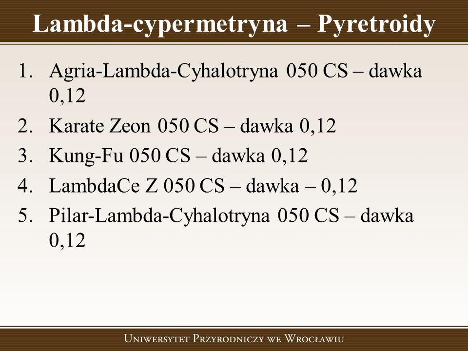 Lambda-cypermetryna – Pyretroidy 1.Agria-Lambda-Cyhalotryna 050 CS – dawka 0,12 2.Karate Zeon 050 CS – dawka 0,12 3.Kung-Fu 050 CS – dawka 0,12 4.Lamb