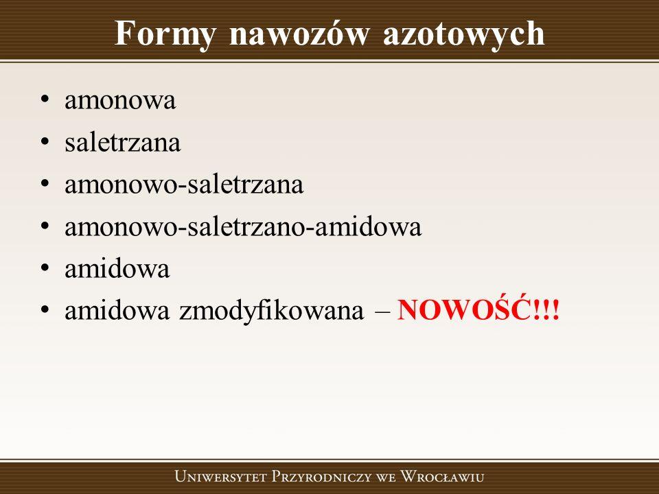 Formy nawozów azotowych amonowa saletrzana amonowo-saletrzana amonowo-saletrzano-amidowa amidowa amidowa zmodyfikowana – NOWOŚĆ!!!