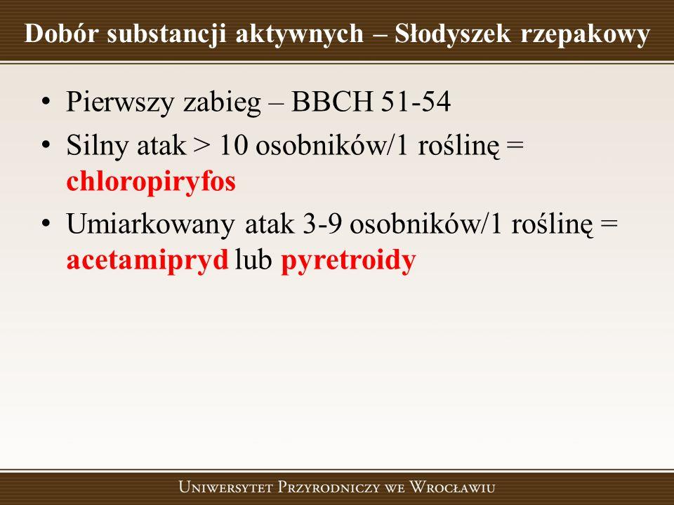 Dobór substancji aktywnych – Słodyszek rzepakowy Pierwszy zabieg – BBCH 51-54 Silny atak > 10 osobników/1 roślinę = chloropiryfos Umiarkowany atak 3-9