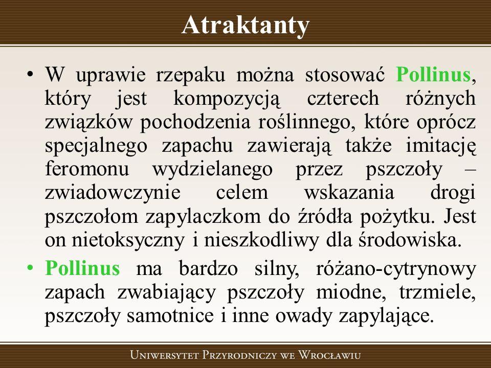 Atraktanty W uprawie rzepaku można stosować Pollinus, który jest kompozycją czterech różnych związków pochodzenia roślinnego, które oprócz specjalnego