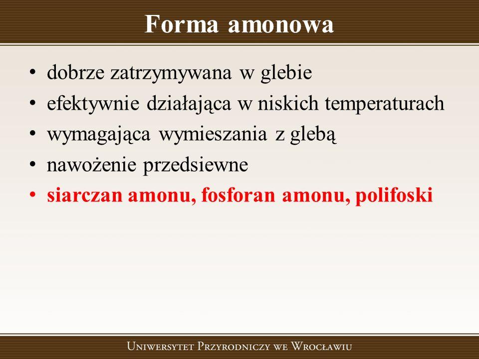 Forma amonowa dobrze zatrzymywana w glebie efektywnie działająca w niskich temperaturach wymagająca wymieszania z glebą nawożenie przedsiewne siarczan