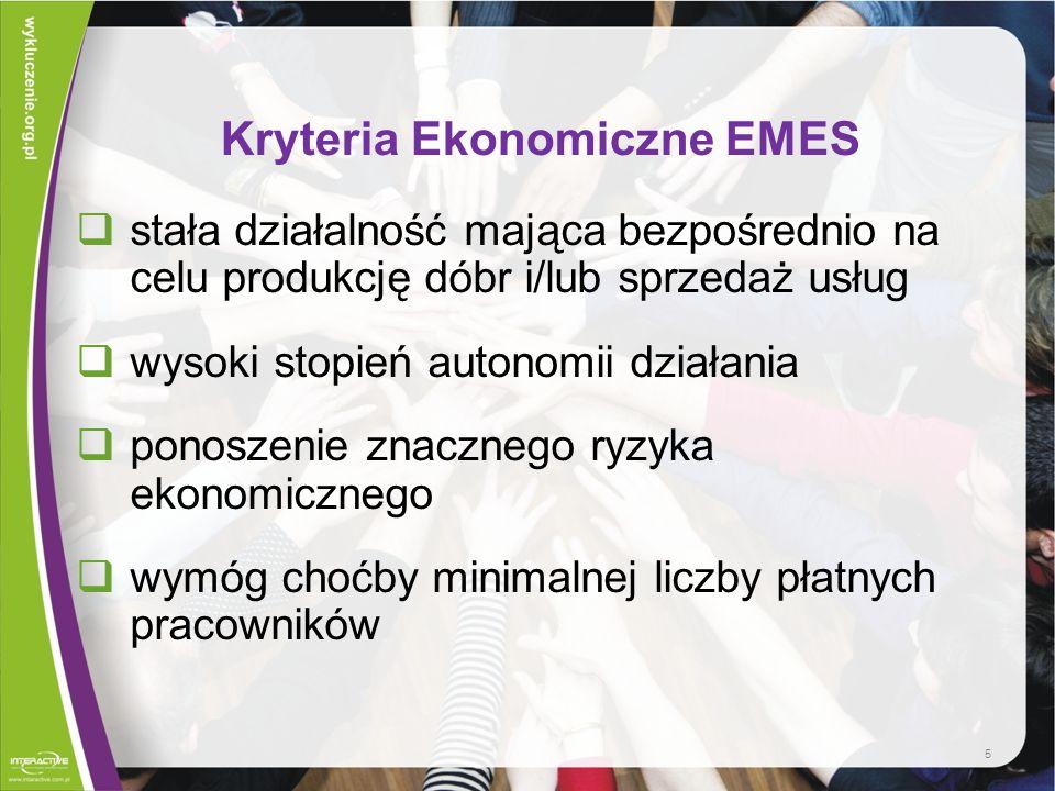 6 Kryteria społeczne EMES jasny cel służenia wspólnocie lokalnej inicjatywa zainicjowana oddolnie przez grupę ludzi proces decyzyjny nie opierający się na posiadanym kapitale.