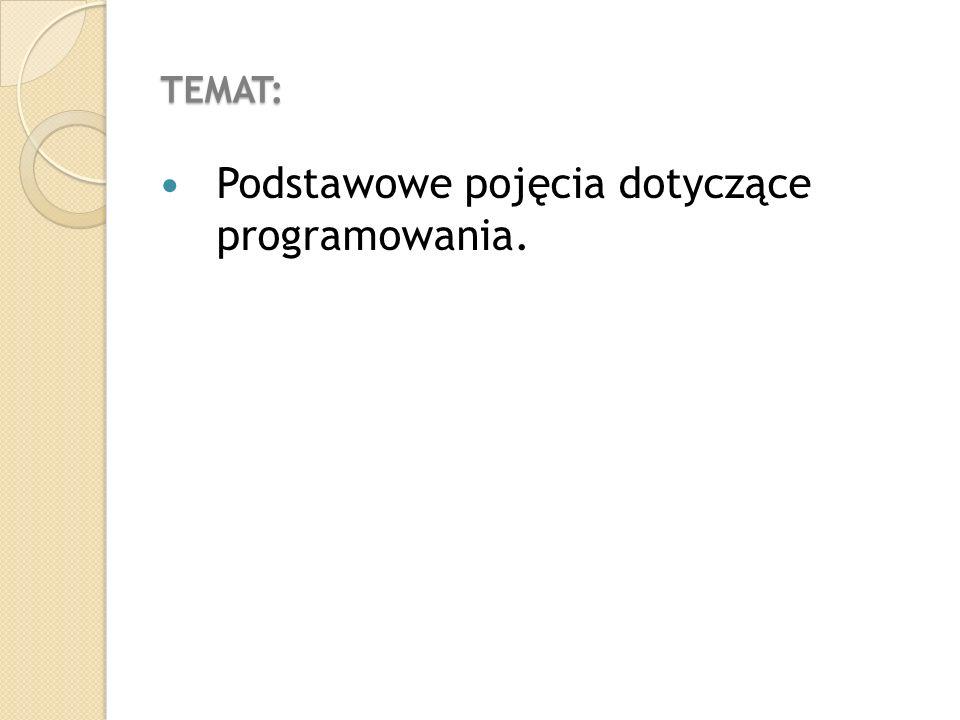 TEMAT: Podstawowe pojęcia dotyczące programowania.