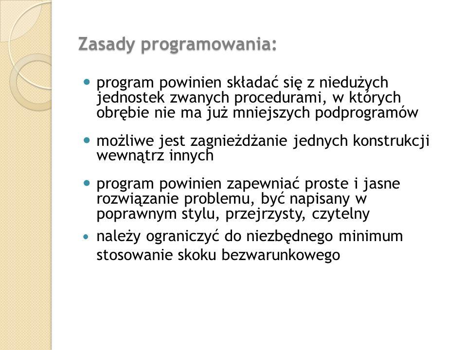Zasady programowania: program powinien składać się z niedużych jednostek zwanych procedurami, w których obrębie nie ma już mniejszych podprogramów moż