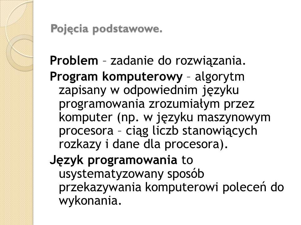 Pojęcia podstawowe. Problem – zadanie do rozwiązania. Program komputerowy – algorytm zapisany w odpowiednim języku programowania zrozumiałym przez kom