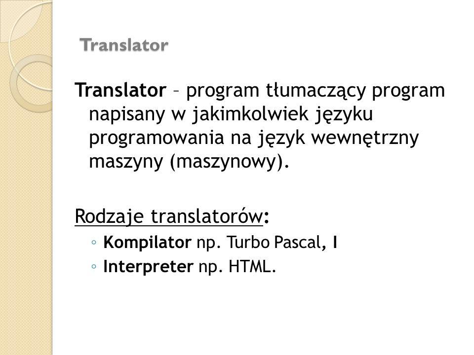Translator Translator – program tłumaczący program napisany w jakimkolwiek języku programowania na język wewnętrzny maszyny (maszynowy). Rodzaje trans