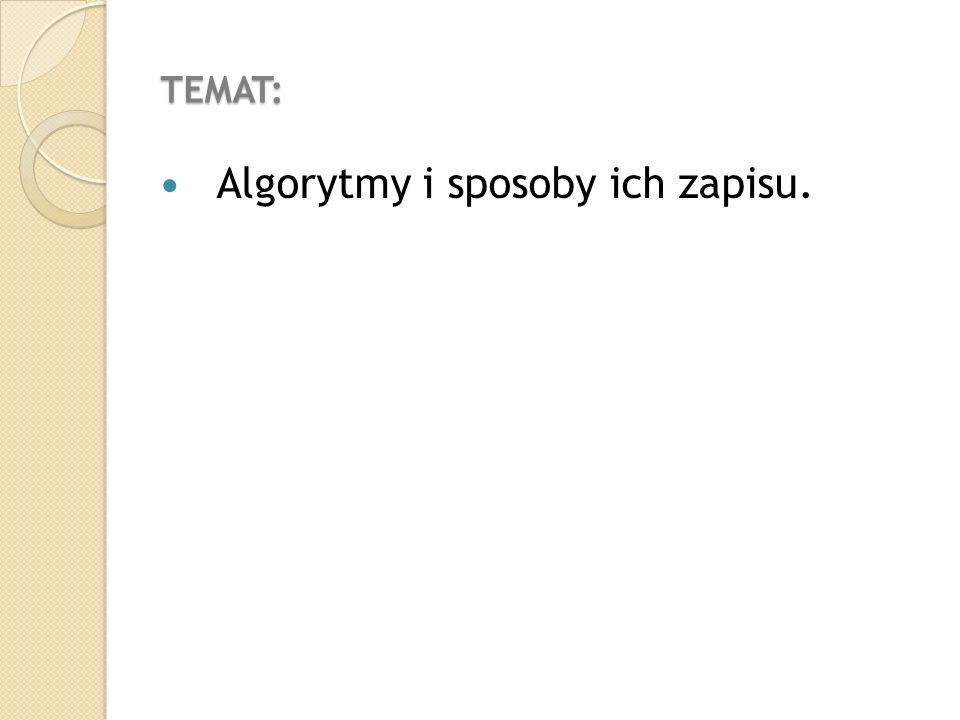 TEMAT: Algorytmy i sposoby ich zapisu.