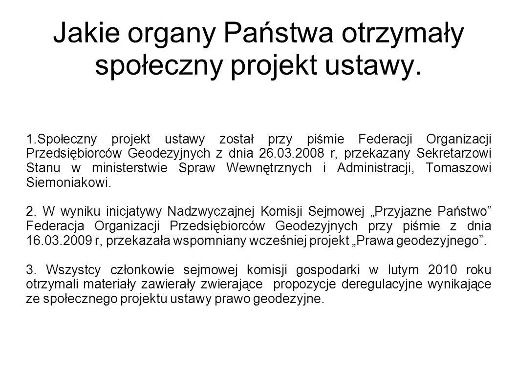 Jakie organy Państwa otrzymały społeczny projekt ustawy. 1.Społeczny projekt ustawy został przy piśmie Federacji Organizacji Przedsiębiorców Geodezyjn