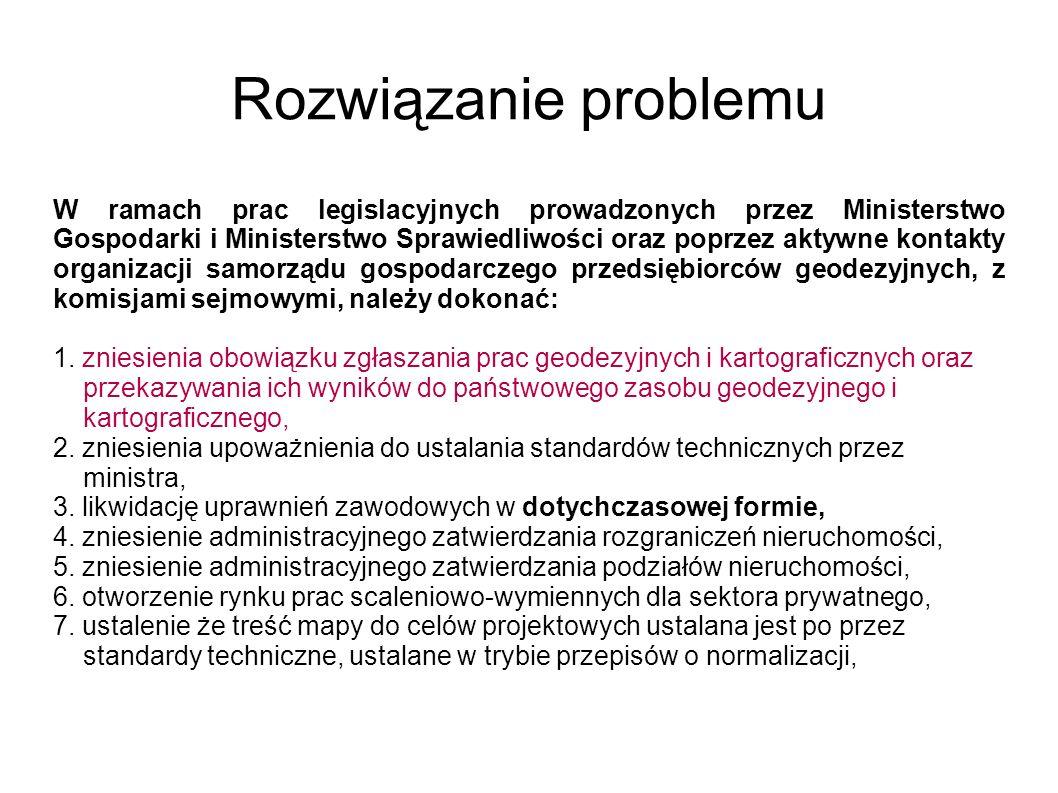 Rozwiązanie problemu W ramach prac legislacyjnych prowadzonych przez Ministerstwo Gospodarki i Ministerstwo Sprawiedliwości oraz poprzez aktywne konta