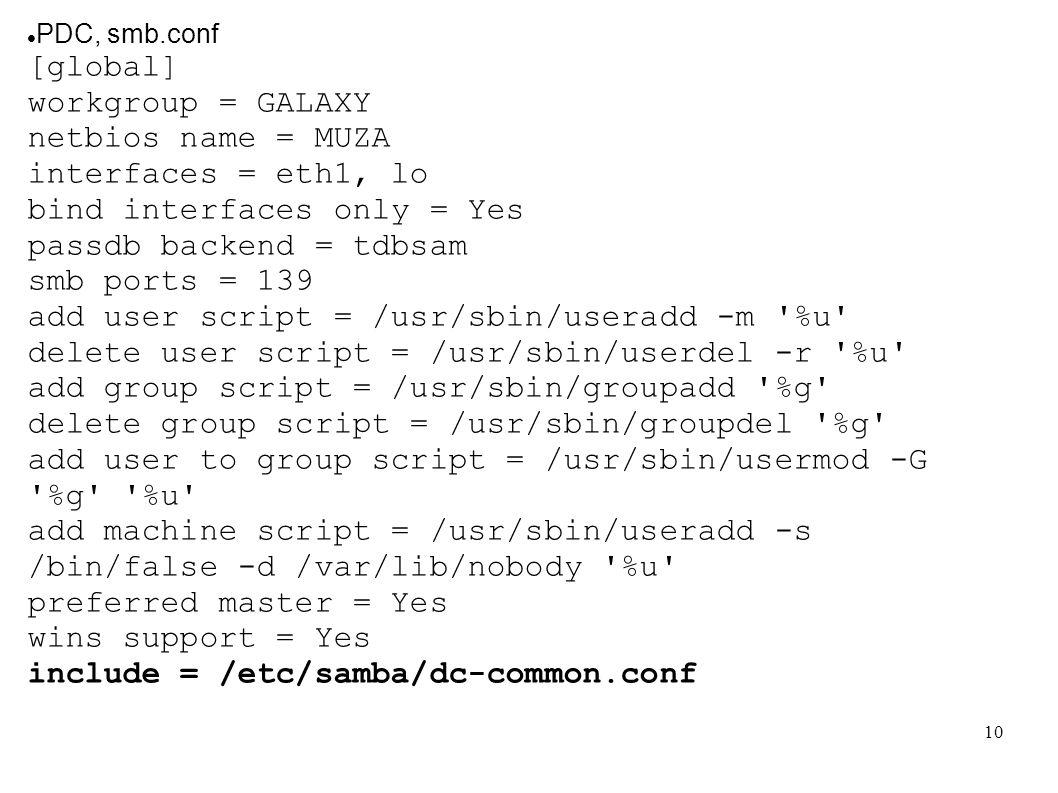 11 [ksiegowosc] comment = Dane FK path = /home/dane/fk read only = No [projekty] comment = Dane działu konstrukcyjnego path = /home/dane/projekty read only = No [pisma] comment = Pliki Zarzadu path = /home/dane/pisma read only = No