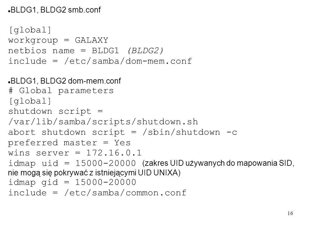 16 BLDG1, BLDG2 smb.conf [global] workgroup = GALAXY netbios name = BLDG1 (BLDG2) include = /etc/samba/dom-mem.conf BLDG1, BLDG2 dom-mem.conf # Global