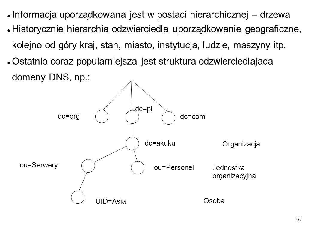 27 LDAP pozwala na kontrolowanie, które atrybuty są dozwolone i konieczne, poprzez użycie specjalnego atrybutu objectClass Odwołania do pozycji składają się z nazwy pozycji – RDN (Relative Distinguished Name) i nazw pozycji nadrzędnych., np: UID=Asia,ou=Serwery,dc=akuku,dc=pl LDAP działa w archutekturze klient-serwer.