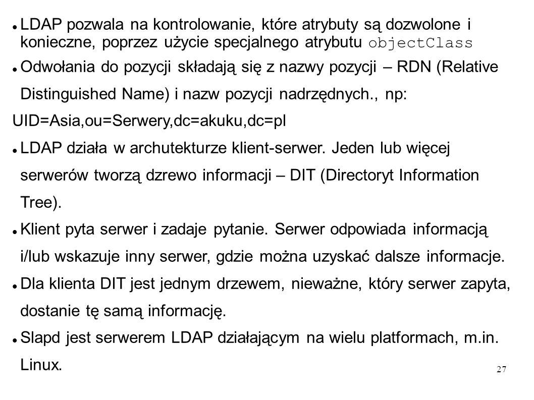 28 Instalacja 7 PDC i BDC – przyspieszenie działania sieci LDAP Instalacja drukarek z serwera