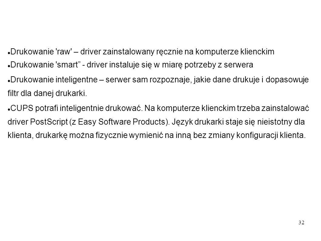 32 Drukowanie 'raw' – driver zainstalowany ręcznie na komputerze klienckim Drukowanie 'smart - driver instaluje się w miarę potrzeby z serwera Drukowa