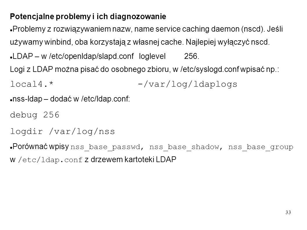 33 Potencjalne problemy i ich diagnozowanie Problemy z rozwiązywaniem nazw, name service caching daemon (nscd). Jeśli używamy winbind, oba korzystają