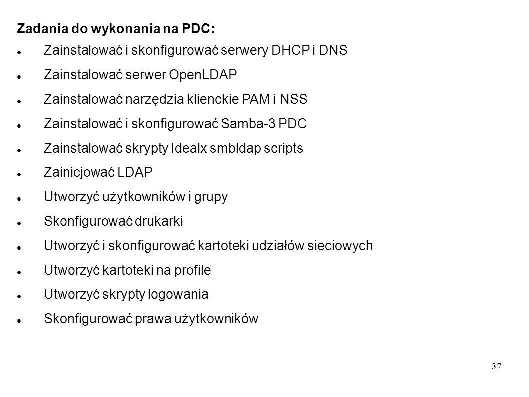 37 Zadania do wykonania na PDC: Zainstalować i skonfigurować serwery DHCP i DNS Zainstalować serwer OpenLDAP Zainstalować narzędzia klienckie PAM i NS
