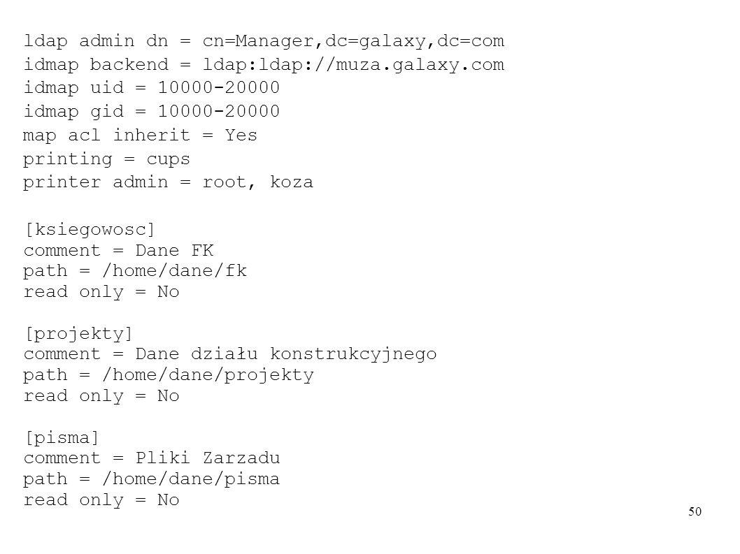 50 ldap admin dn = cn=Manager,dc=galaxy,dc=com idmap backend = ldap:ldap://muza.galaxy.com idmap uid = 10000-20000 idmap gid = 10000-20000 map acl inh