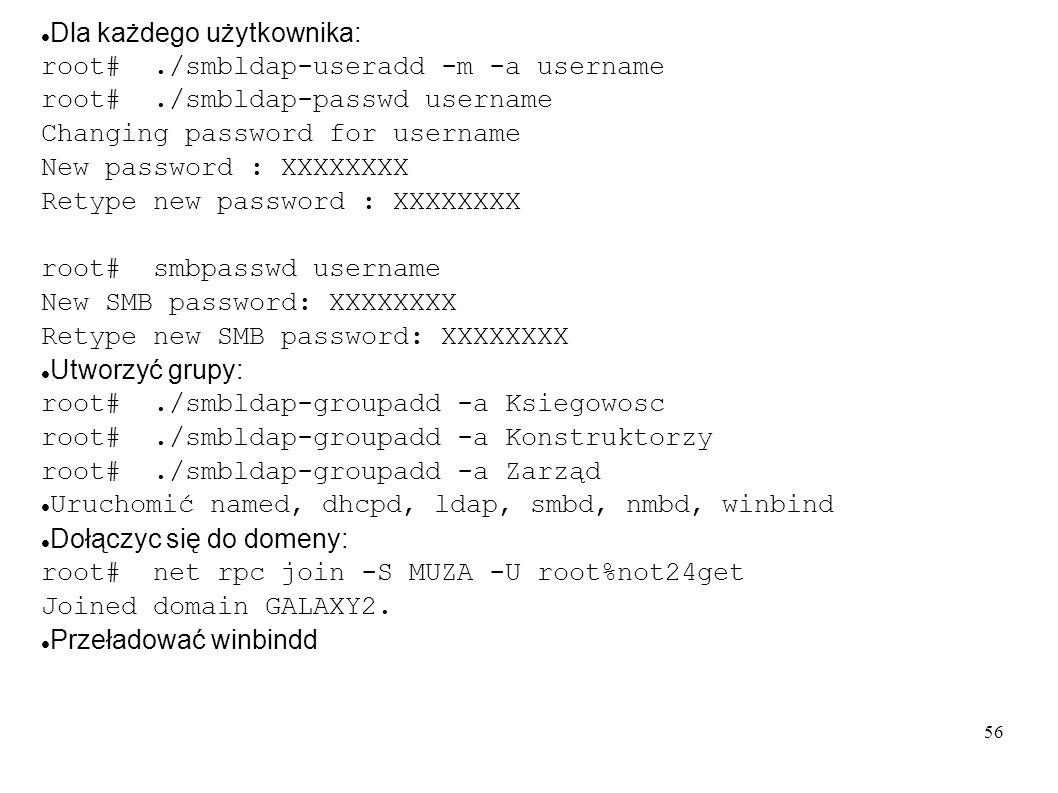 57 Konfiguracja drukarek, drukowanie smart Nadać adresy IP drukarkom Wpisać drukarki do serwera DNS Na serwerach obsługujących drukarki założyć spooling: lpadmin -p kolejka -v socket://nazwa_drukarki.galaxt.com:9100 -E Poprawić /etc/mime.convs, /etc/mime.types Utworzyć kartoteki na drivery: root# mkdir -p /var/lib/samba/drivers/{W32ALPHA,W32MIPS,W32X86,WIN40} root# chown -R root:root /var/lib/samba/drivers root# chmod -R ug=rwx,o=rx /var/lib/samba/drivers