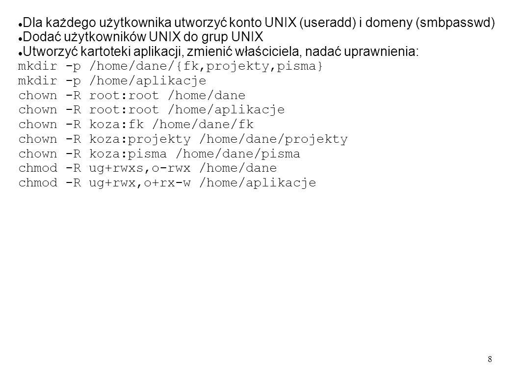 8 Dla każdego użytkownika utworzyć konto UNIX (useradd) i domeny (smbpasswd) Dodać użytkowników UNIX do grup UNIX Utworzyć kartoteki aplikacji, zmieni