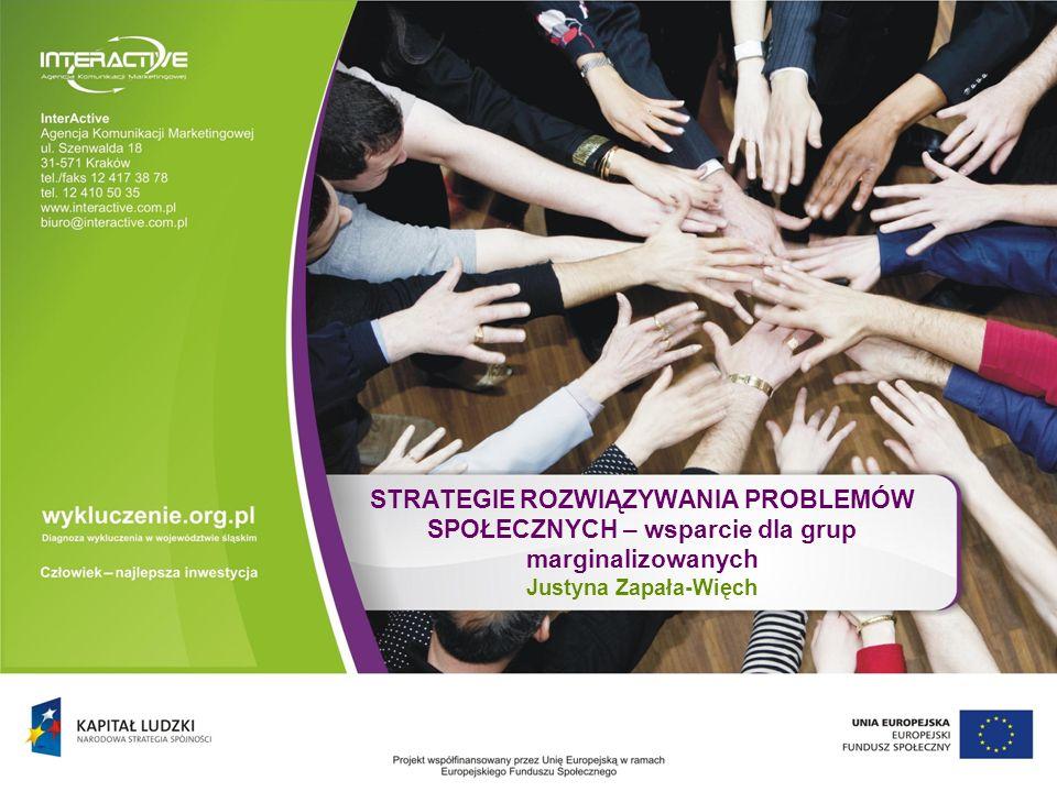 STRATEGIE ROZWIĄZYWANIA PROBLEMÓW SPOŁECZNYCH – wsparcie dla grup marginalizowanych Justyna Zapała-Więch