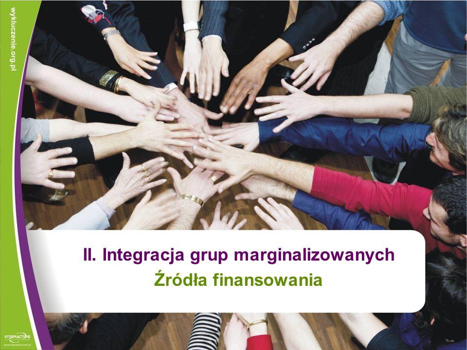 II. Integracja grup marginalizowanych Źródła finansowania